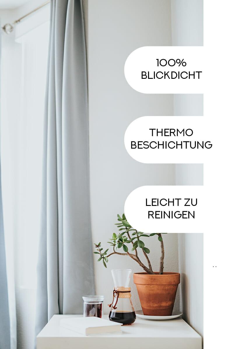 Blickdichte Vorhänge mit Thermobeschichtung.