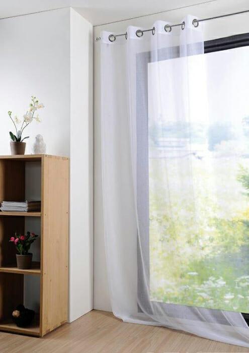 Vorhang mit Leinenstruktur Monna Weiß Anezige