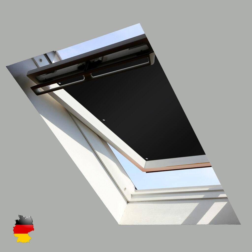 Sonnenschutz für Dachfenster | Perfekt für Velux und Roto Fenster | 100% Verdunkelung | Sonnen und UV Schutz Schwarz
